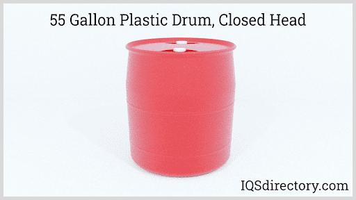 55 Gallon Plastic Drum, Closed Head
