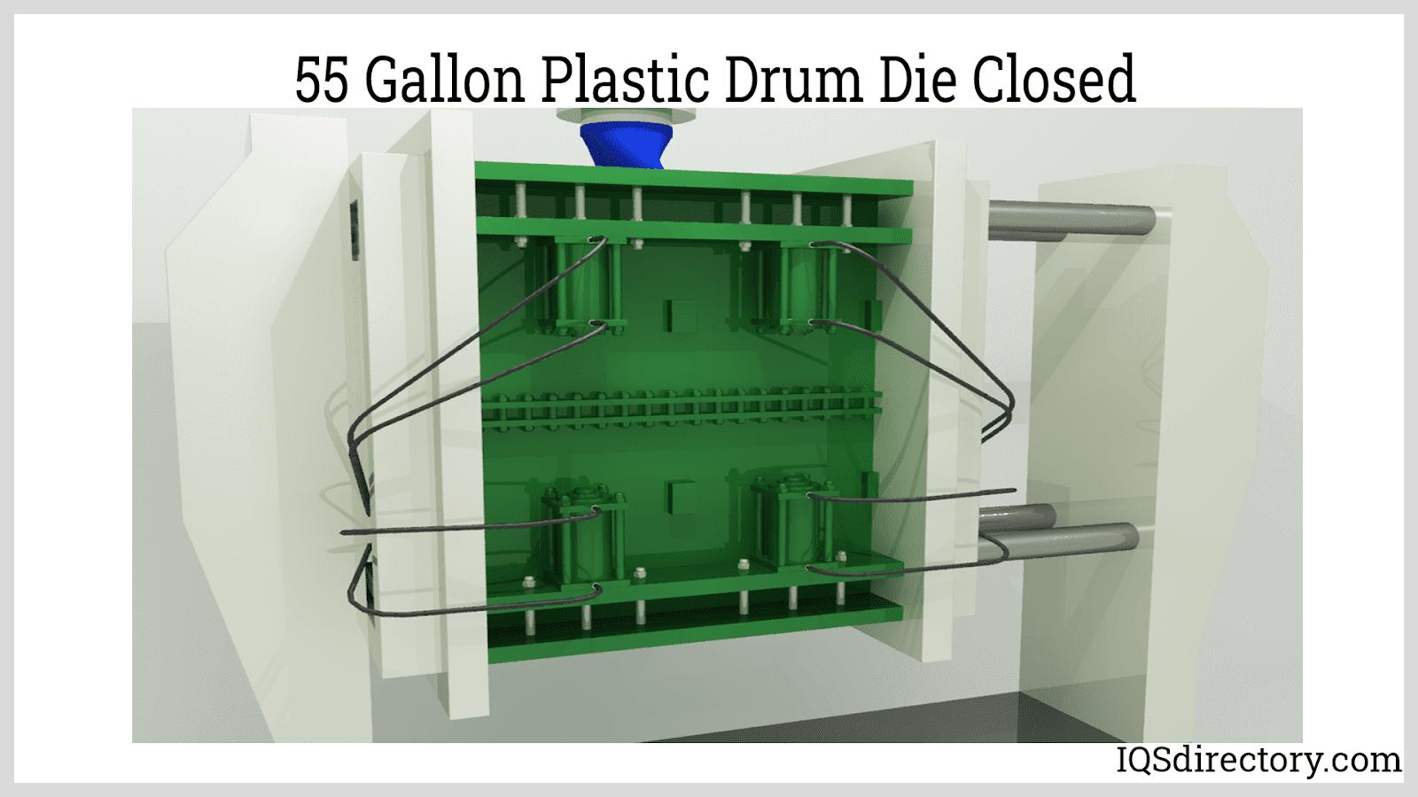 55 Gallon Plastic Drum into Drum Die Closed