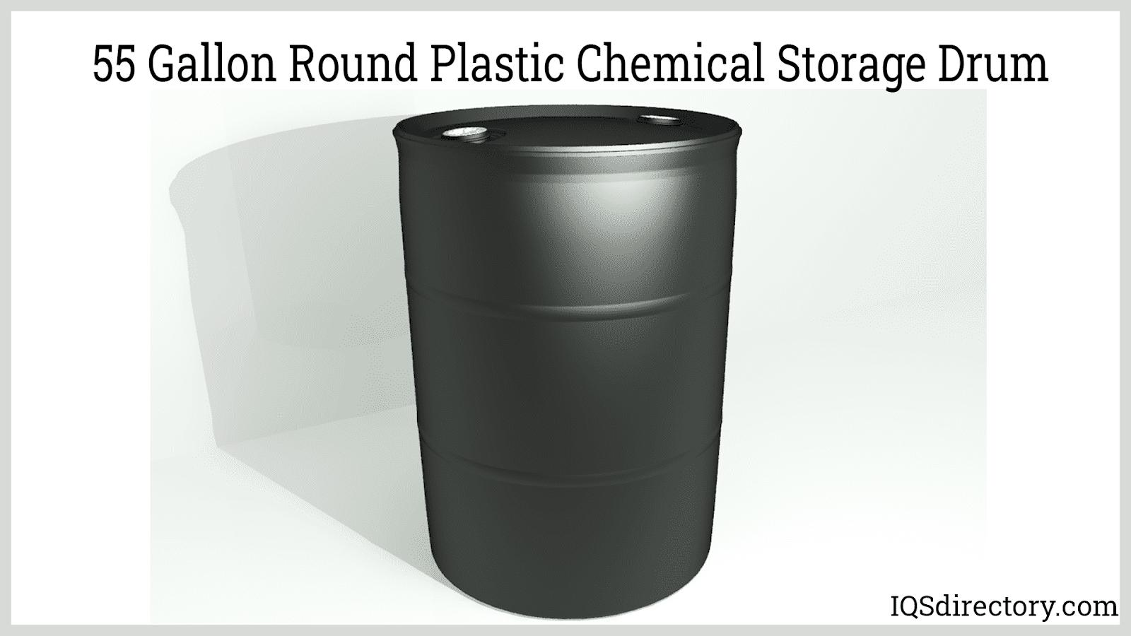 55 Gallon Round Plastic Chemical Storage Drum