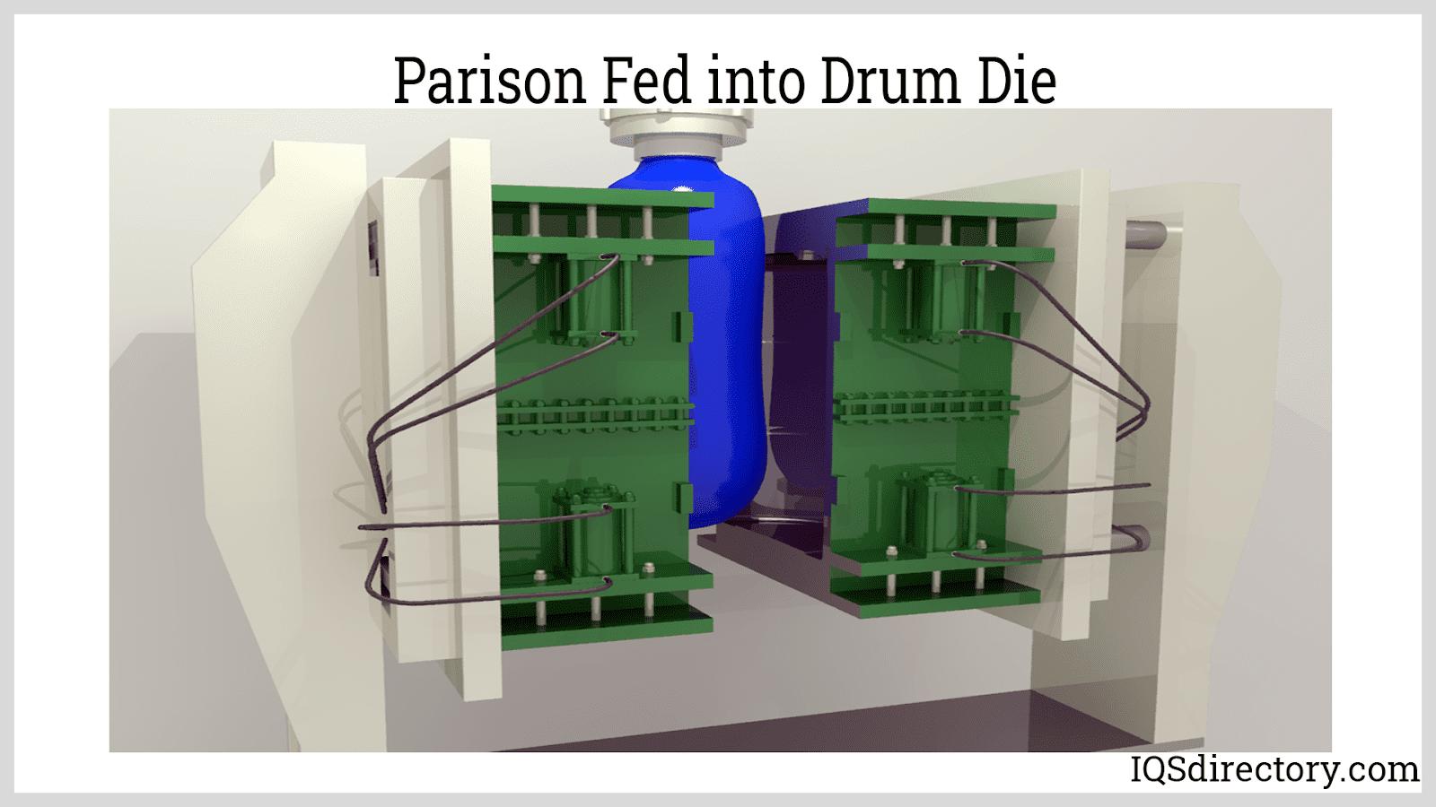Parison Fed into Drum Die