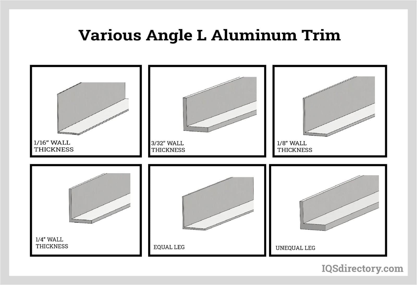 Various Angle L Aluminum Trim