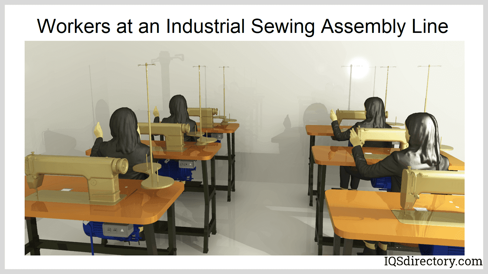 Women Working at an Industrial Sewing Assembly Line