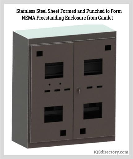 Stainless Steel Sheet Formed and Punched to Form NEMA Freestanding Enclosure