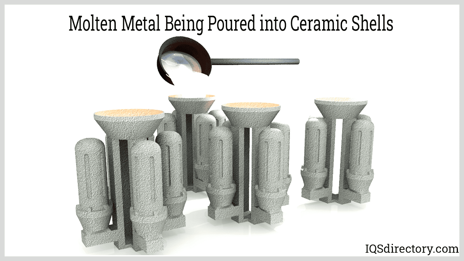 Molten Metal Being Poured into Ceramic Shells