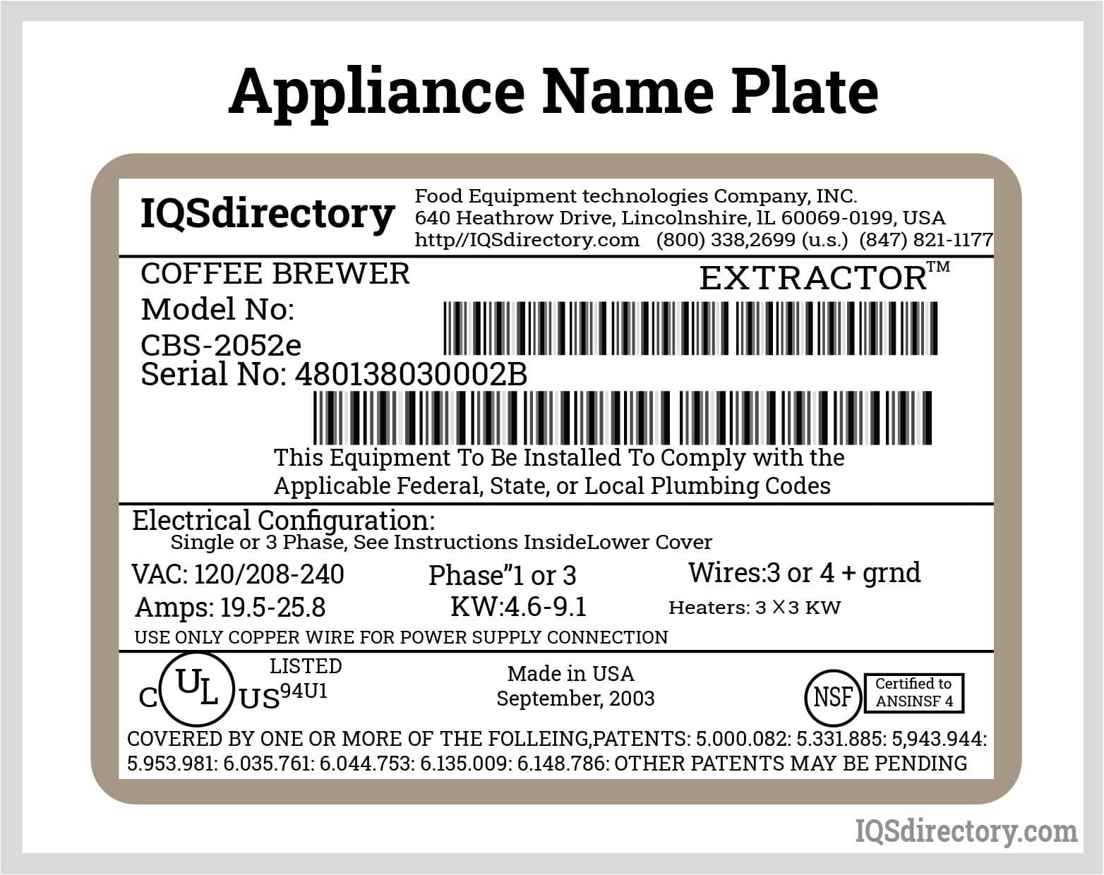 Appliance Name Plate