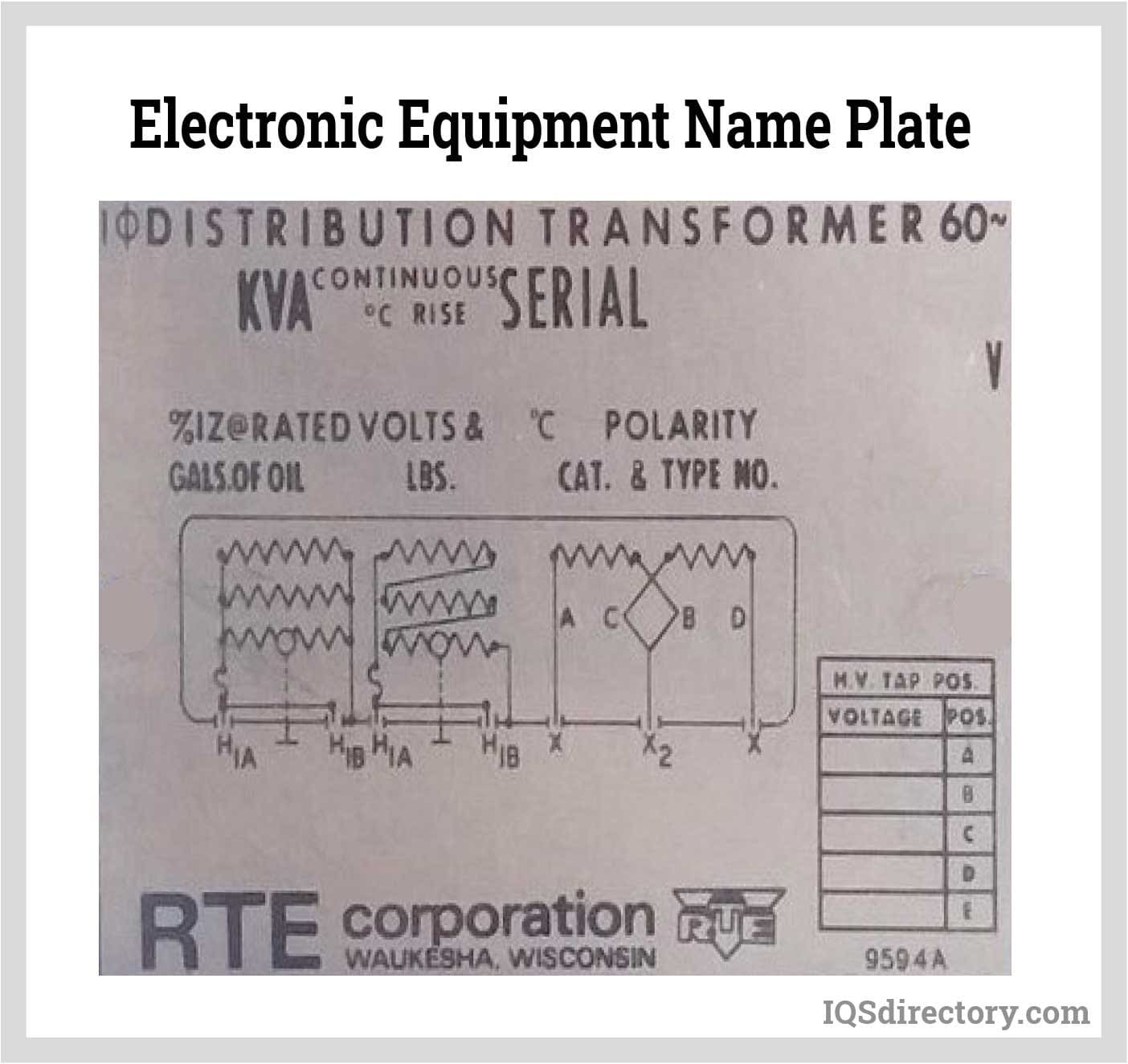 Electronic Equipment Name Plate