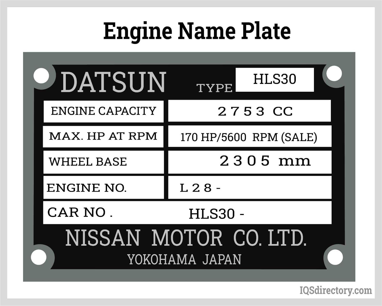 Engine Name Plate