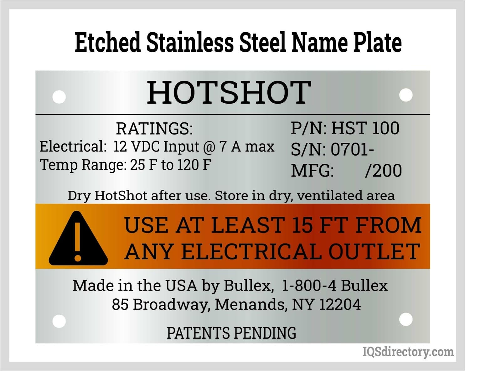 Etched Stainless Steel Name Plate