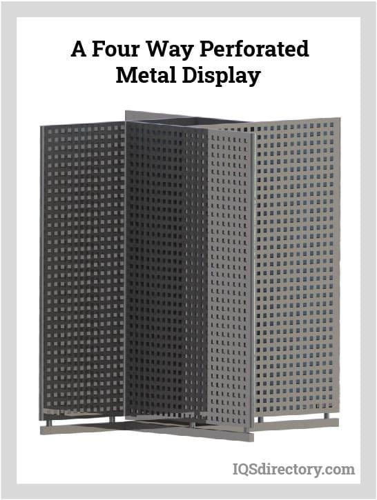 A Four Way Perforated Metal Display