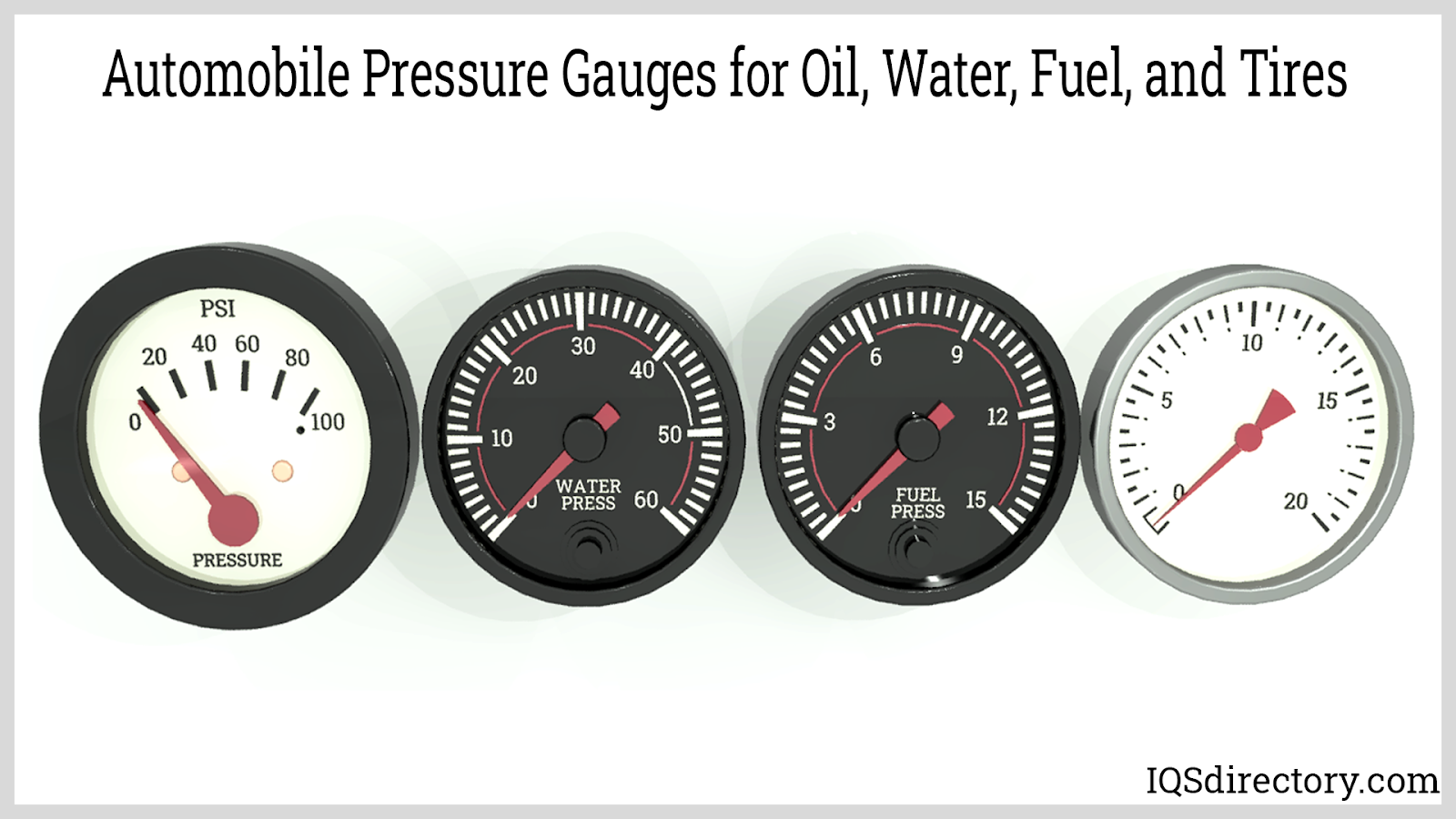 Automobile Pressure Gauges for Oil, Water, Fuel, and Tires