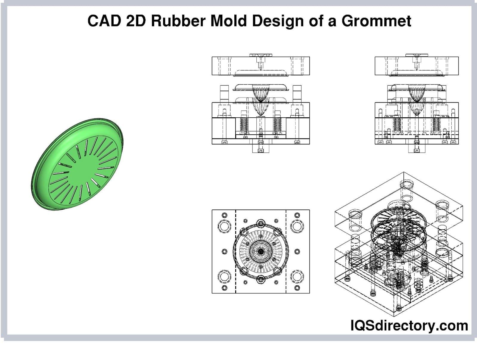 CAD 2D Rubber Mold Design of a Grommet