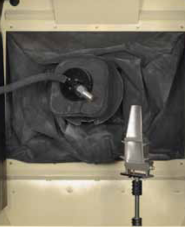 Robotic Blast Nozzle Surface Treating a Jet Engine Blade