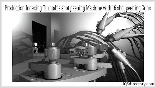 Production Indexing Turntable shot peening Machine with 16 shot peening Guns