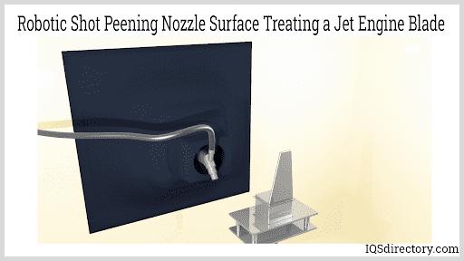 Robotic Shot Peening Nozzle Surface Treating a Jet Engine Blade