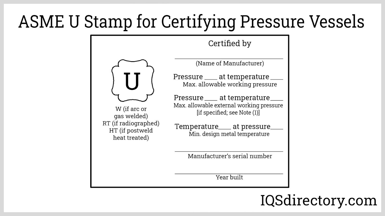 ASME U Stamp for Certifying Pressure Vessels