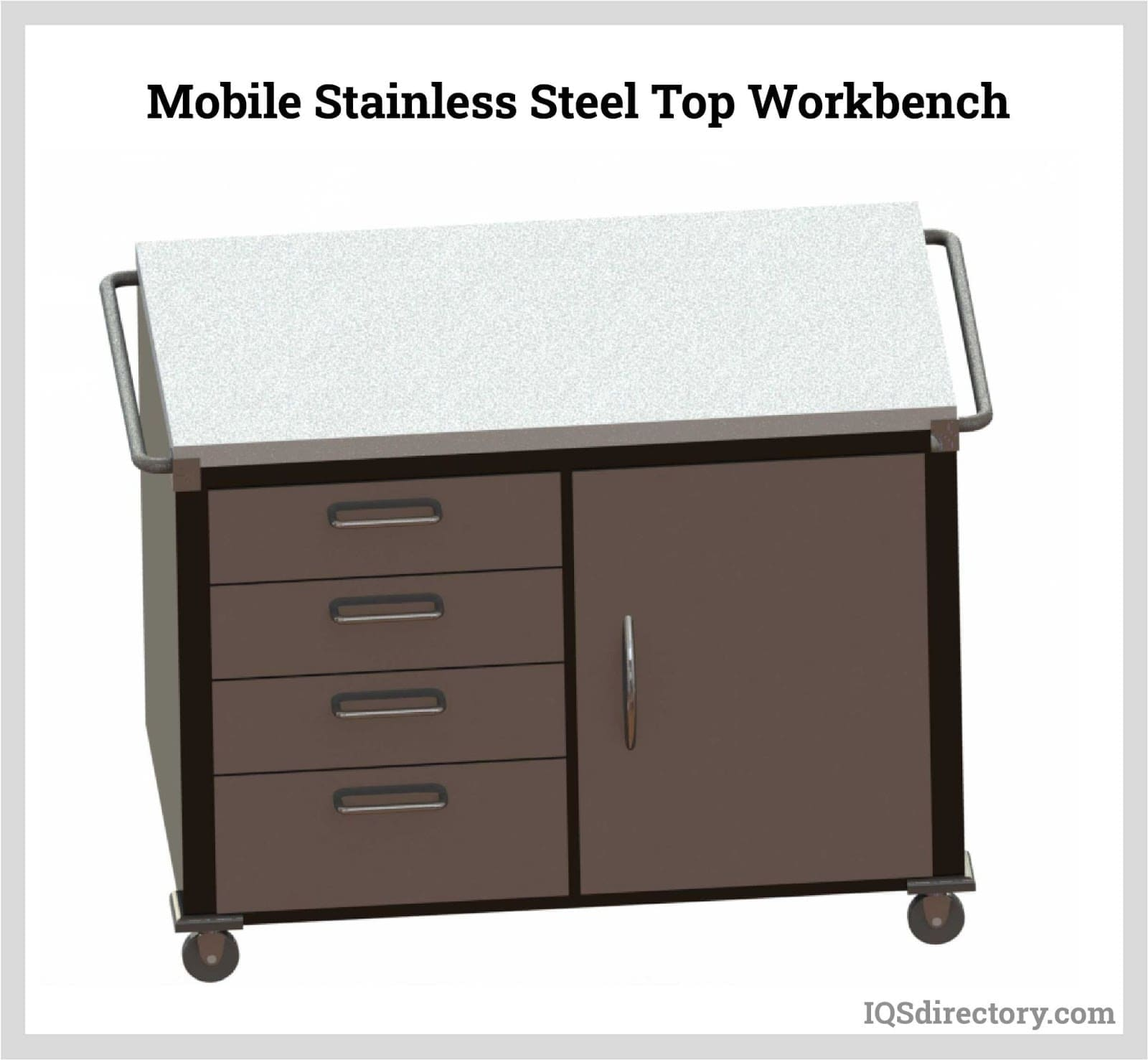 Mobile Stainless Steel Top Workbench