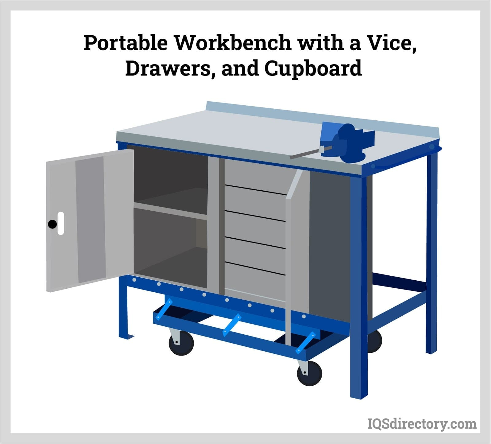 Portable Workbench with a Vice, Drawers, and Cupboard