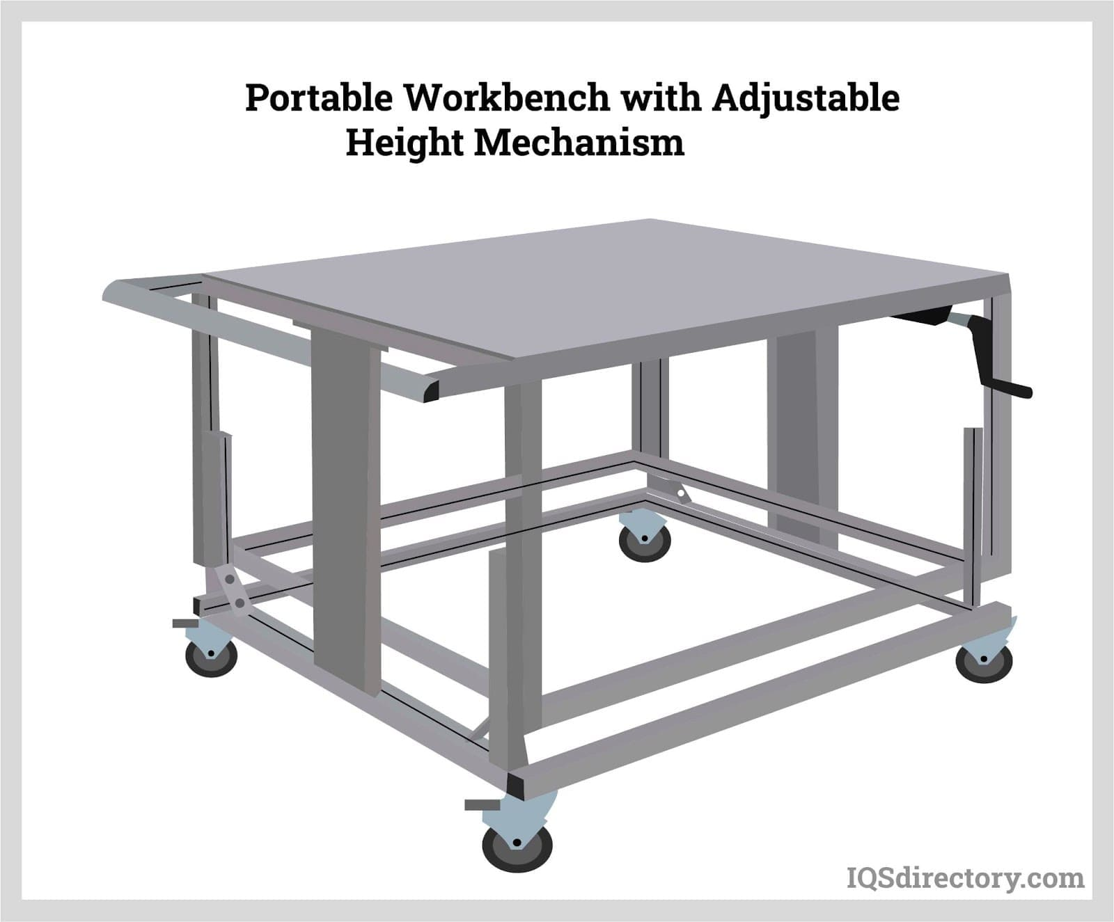 Portable Workbench with Adjustable Height Mechanism