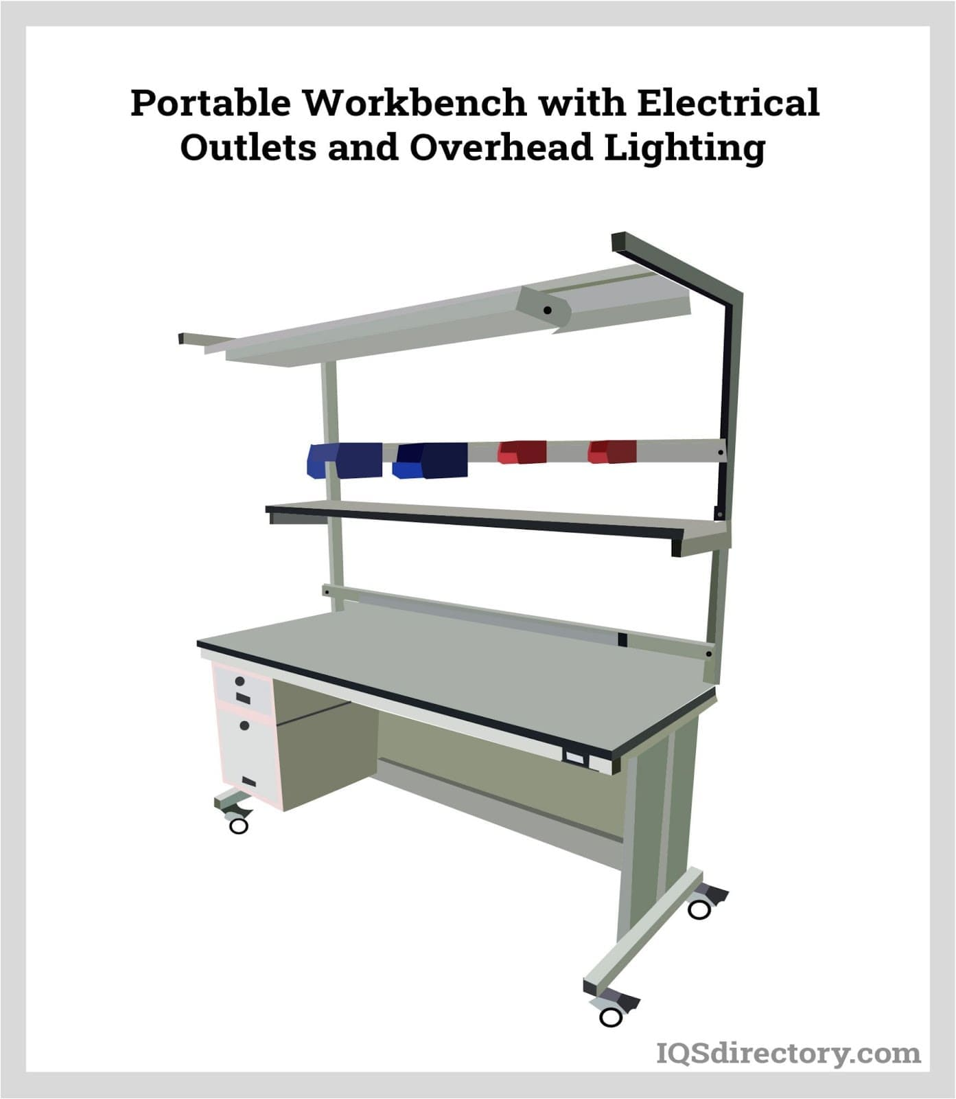 Portable Workbench with Electrical Outlets and Overhead Lighting