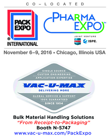 VAC-U-MAX Exhibits Pneumatic Conveying Systems at Pack Expo
