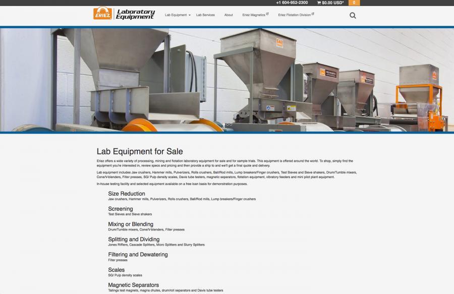 Eriez Launches New Laboratory Equipment Website
