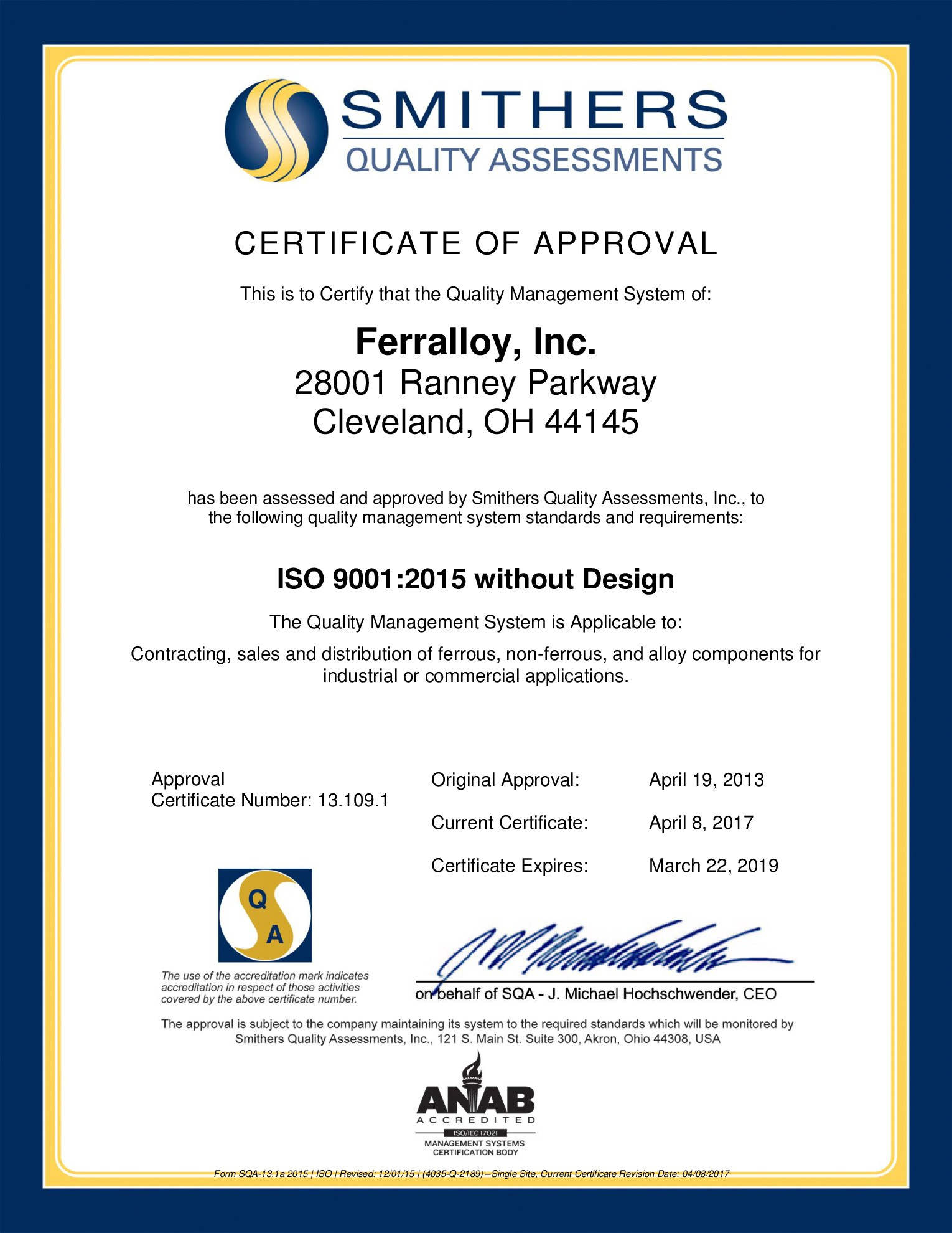 Ferralloy Becomes ISO9001:2015 Certified