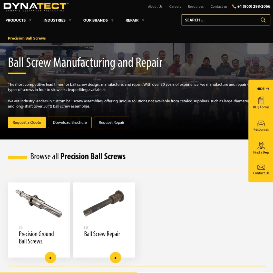 Dynatect Manufacturing, Inc. Ball Screw Repair