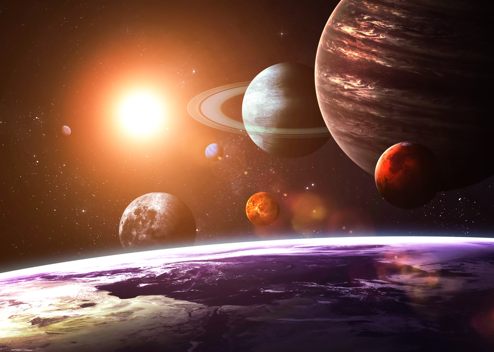 Earth, moon, planets in our solar system.