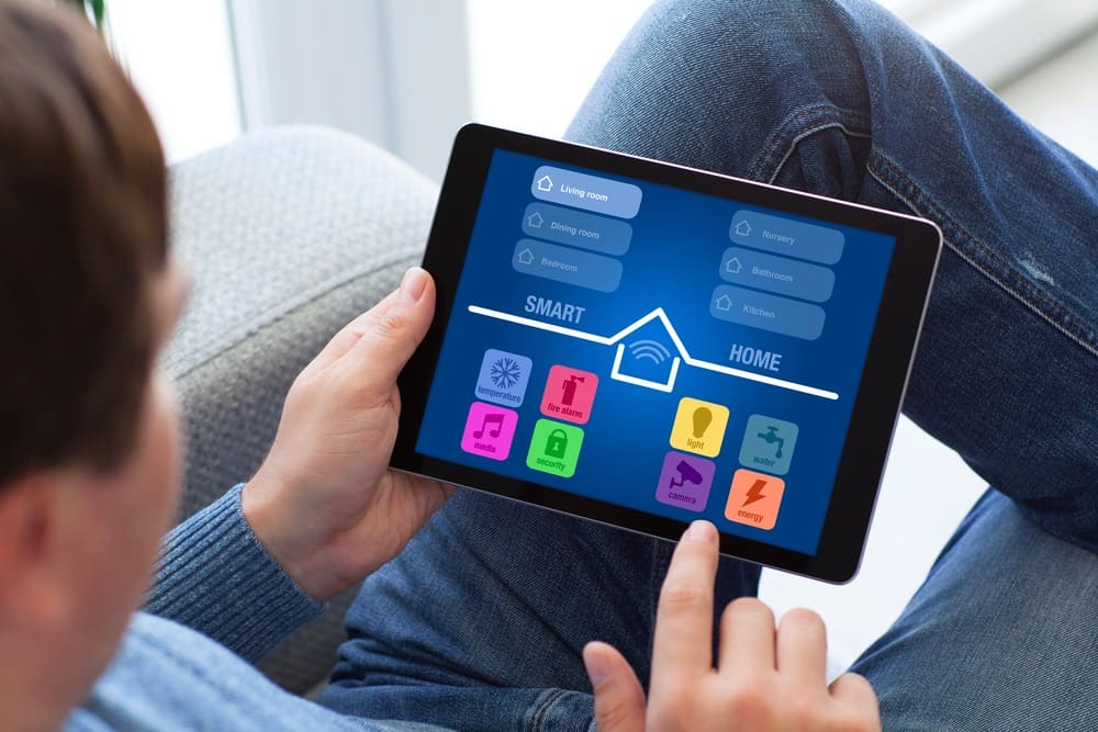 Smart home control tablet in use