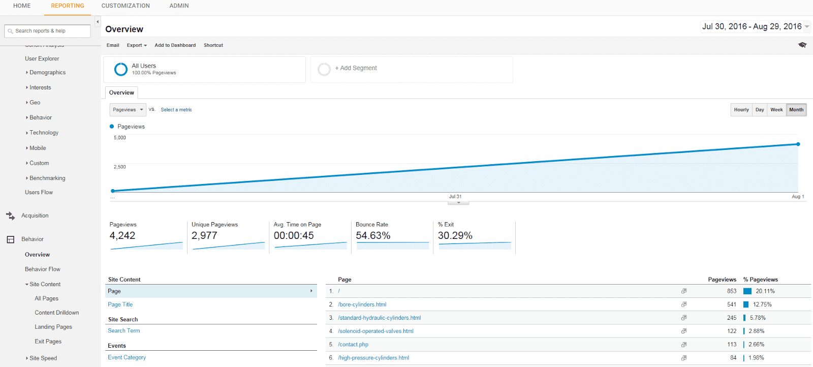 Google Analytics Behavior Report