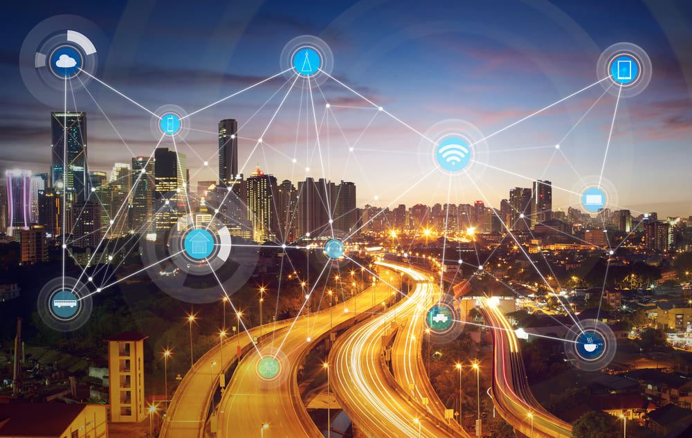 What Is A Smart City, City skyline, Technology icons